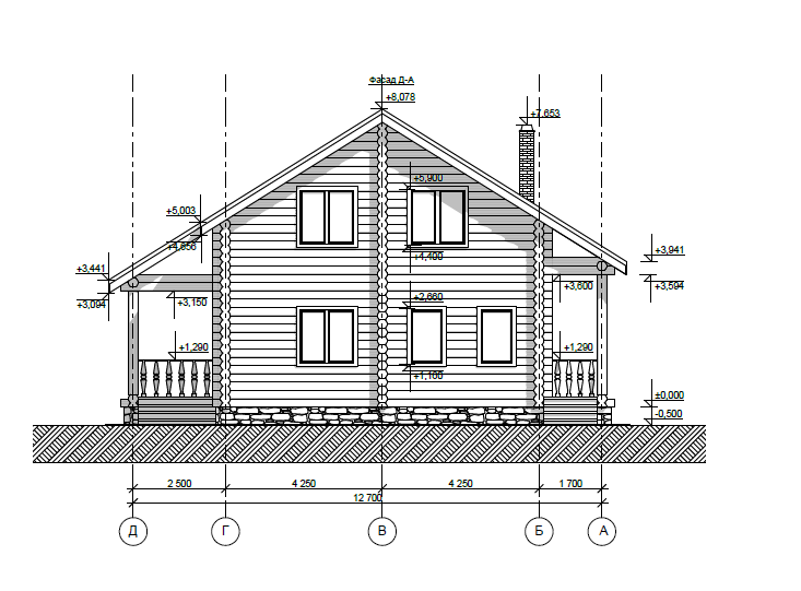 Сруб дома 10х10 в два этажа со скатной крышей, рубка в чашу