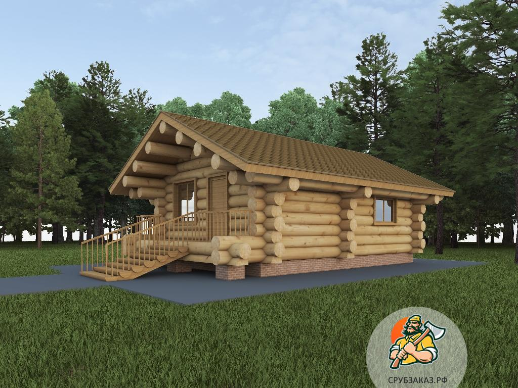 Гостевой деревянный дом 6х9 из бревна большого диаметра 45 см