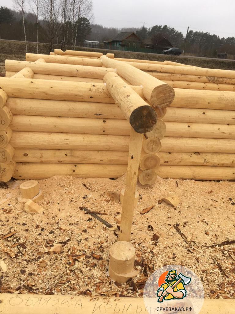 Сруб бани 6х6, рубка в чашу. Проект с выносом бревна под отделку веранды