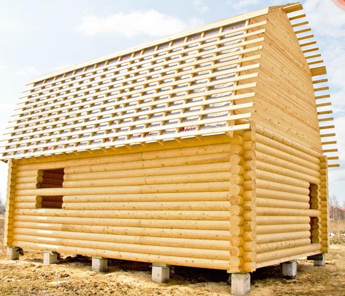 Сруб Дом 9х9 с мансардной крышей